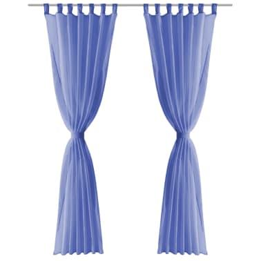vidaXL Draperii din voal, 2 buc., 140 x 175 cm, albastru regal[3/5]
