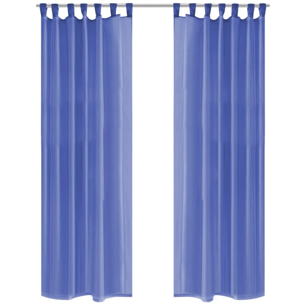 Voálové závěsy, 2 ks, 140x245 cm, královská modř