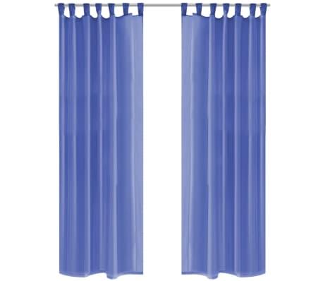 vidaXL Draperii din voal, 2 buc., 140 x 245 cm, albastru regal[1/5]
