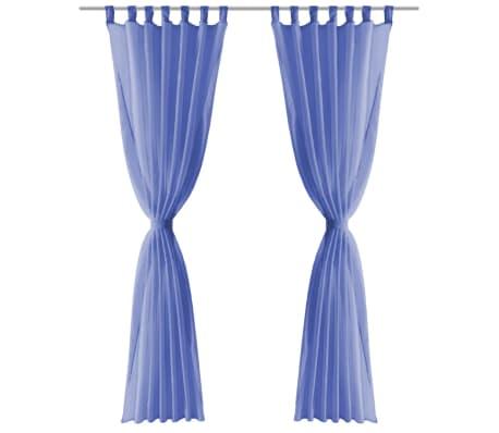 vidaXL Draperii din voal, 2 buc., 140 x 245 cm, albastru regal[3/5]