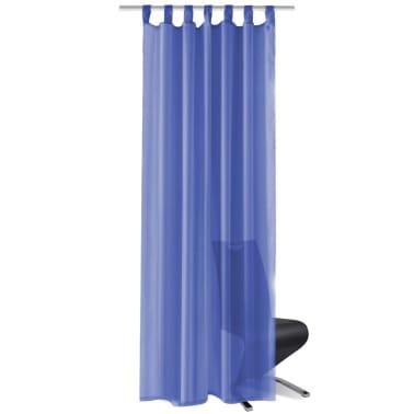 vidaXL Draperii din voal, 2 buc., 140 x 245 cm, albastru regal[2/5]