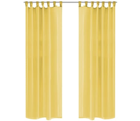 acheter vidaxl rideau occultant 2 pcs voile 140 x 175 cm jaune pas cher. Black Bedroom Furniture Sets. Home Design Ideas