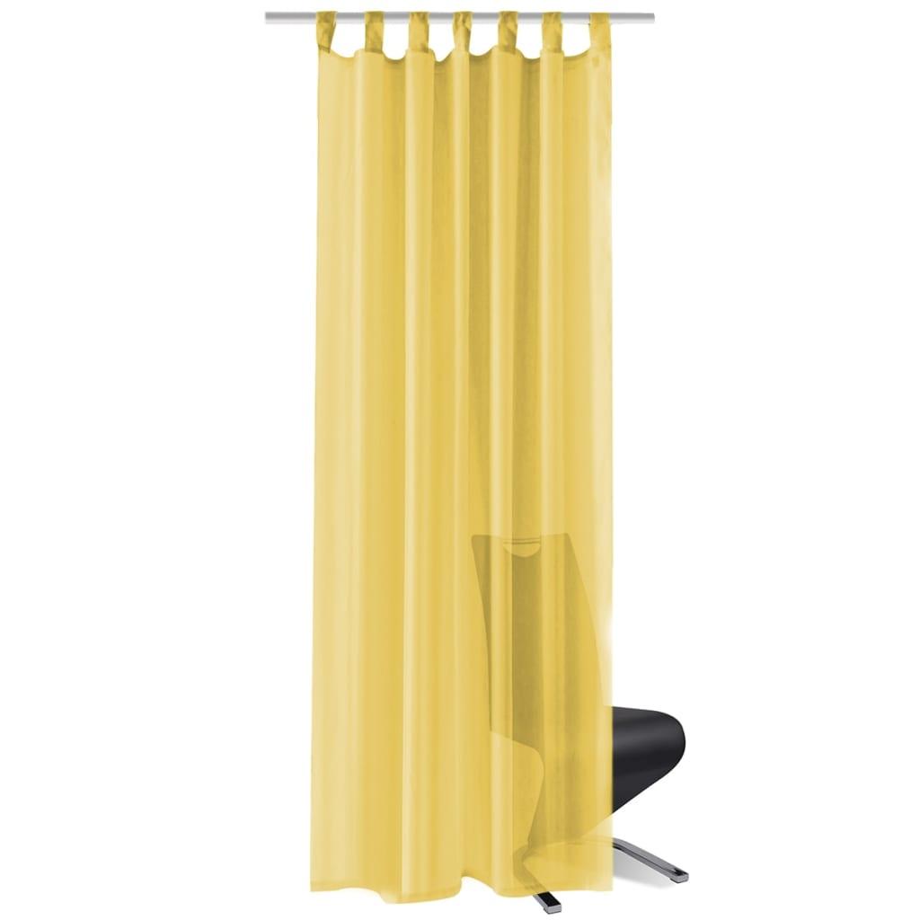 vidaXL Voálové závěsy, 2 ks, 140x175 cm, žlutá