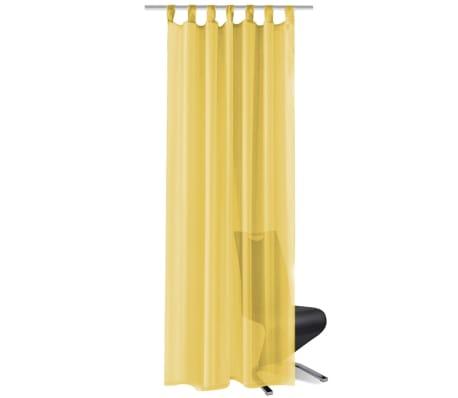 vidaXL Draperii din voal, 2 buc., 140 x 175 cm, galben[2/5]