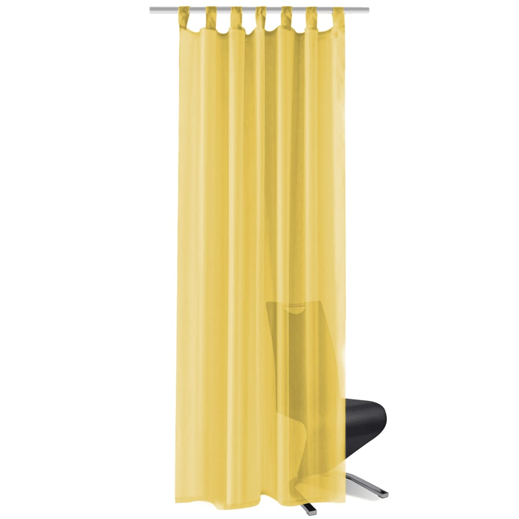 vidaXL Voálové závěsy, 2 ks, 140x245 cm, žlutá