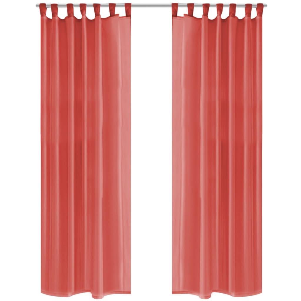 Voálové závěsy, 2 ks, 140x175 cm, červená