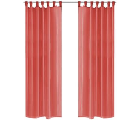 vidaXL Draperii din voal, 2 buc., 140x175 cm, roșu[1/5]