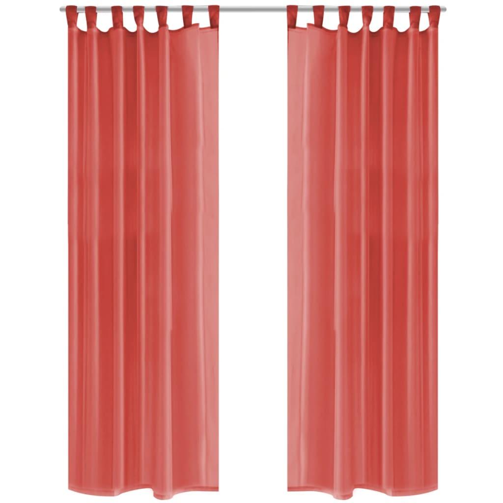 Voálové závěsy, 2 ks, 140x225 cm, červená