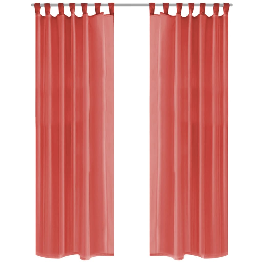 vidaxl gordijnen voile 140x225 cm rood 2 st