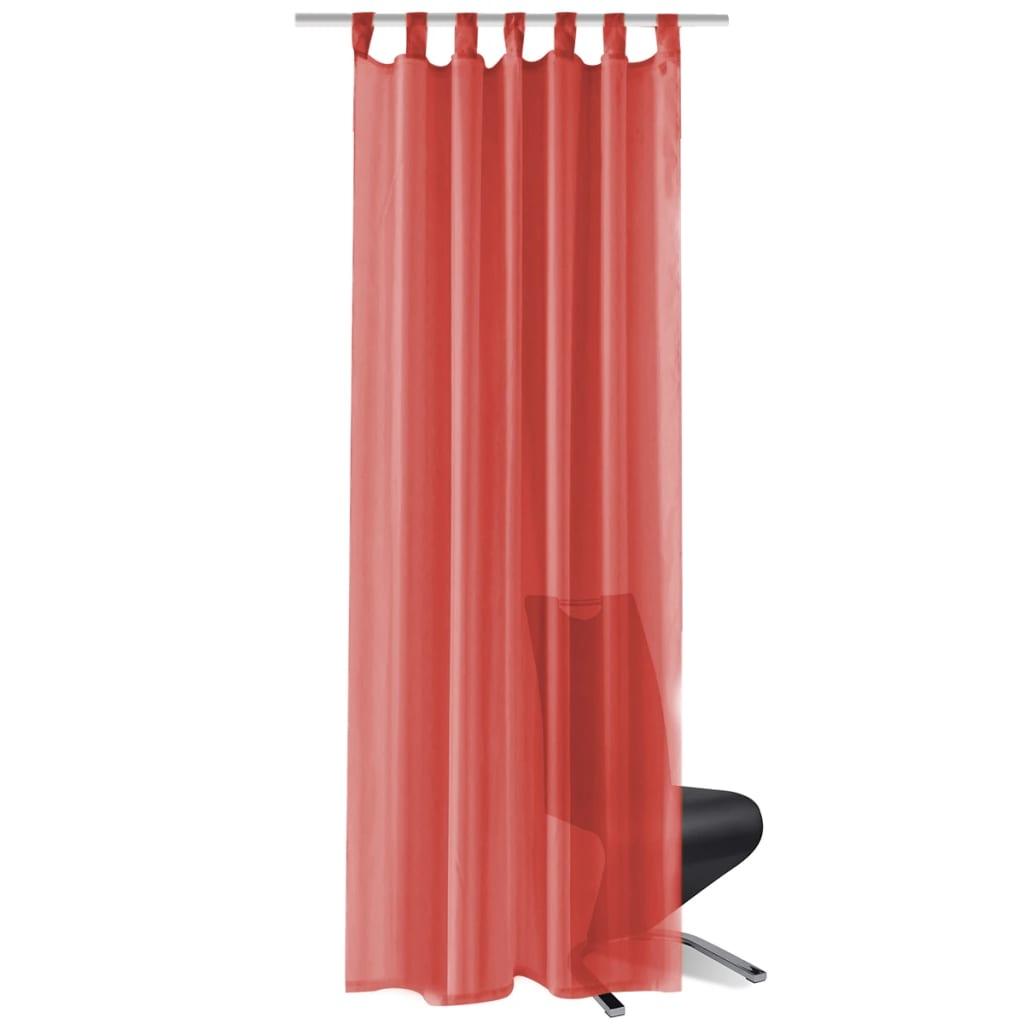 vidaXL Voálové závěsy, 2 ks, 140x225 cm, červená