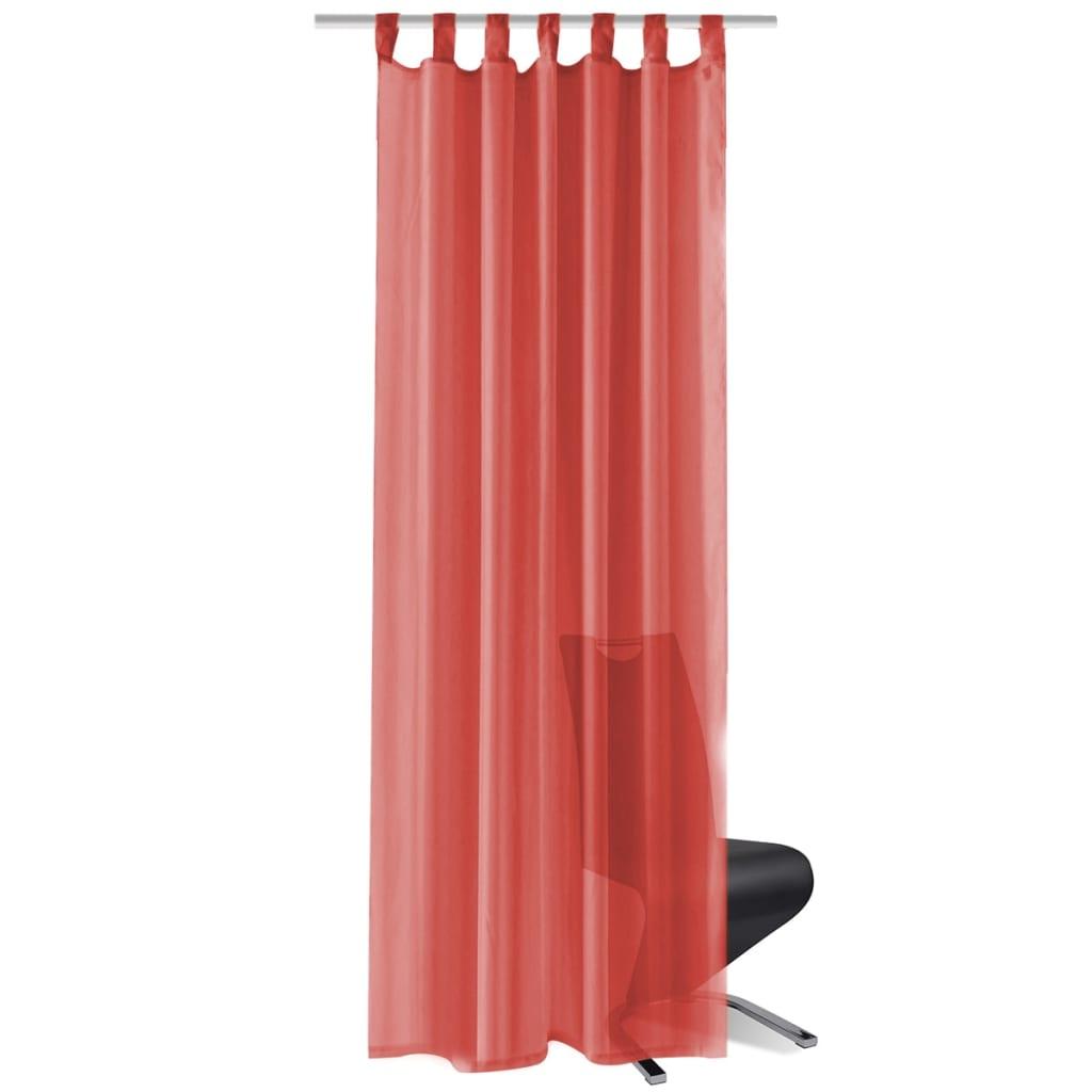 vidaXL Voálové závěsy, 2 ks, 140x245 cm, červená
