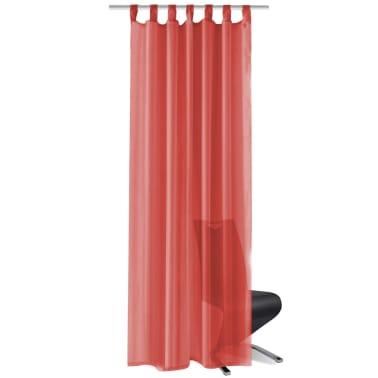 vidaXL Draperii din voal, 2 buc., 140 x 245 cm, roșu[2/5]