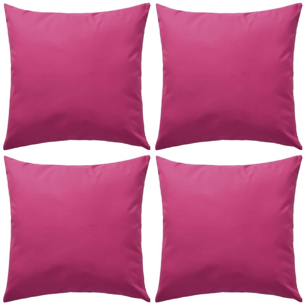 vidaXL Venkovní polštáře 4 ks 45x45 cm růžová