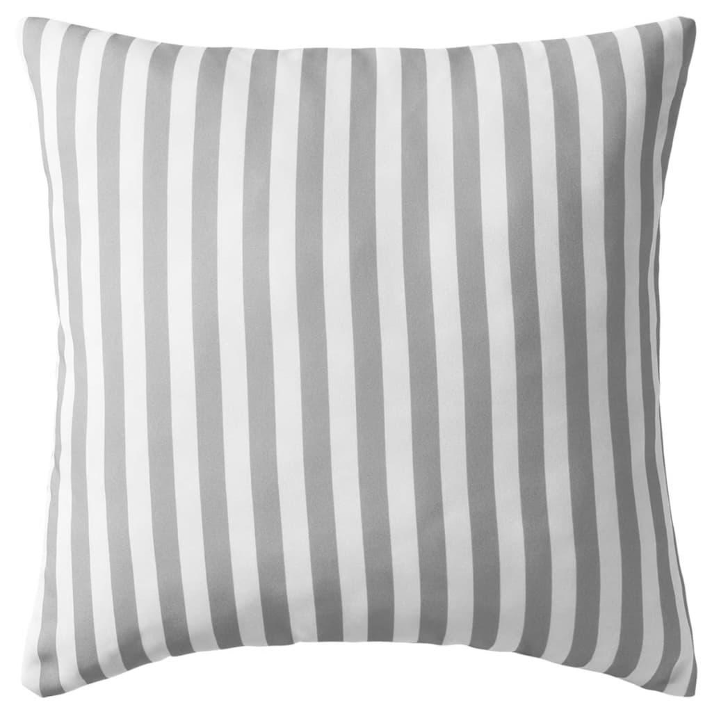 vidaXL Venkovní polštáře 2 ks pruhované 45x45 cm šedivé