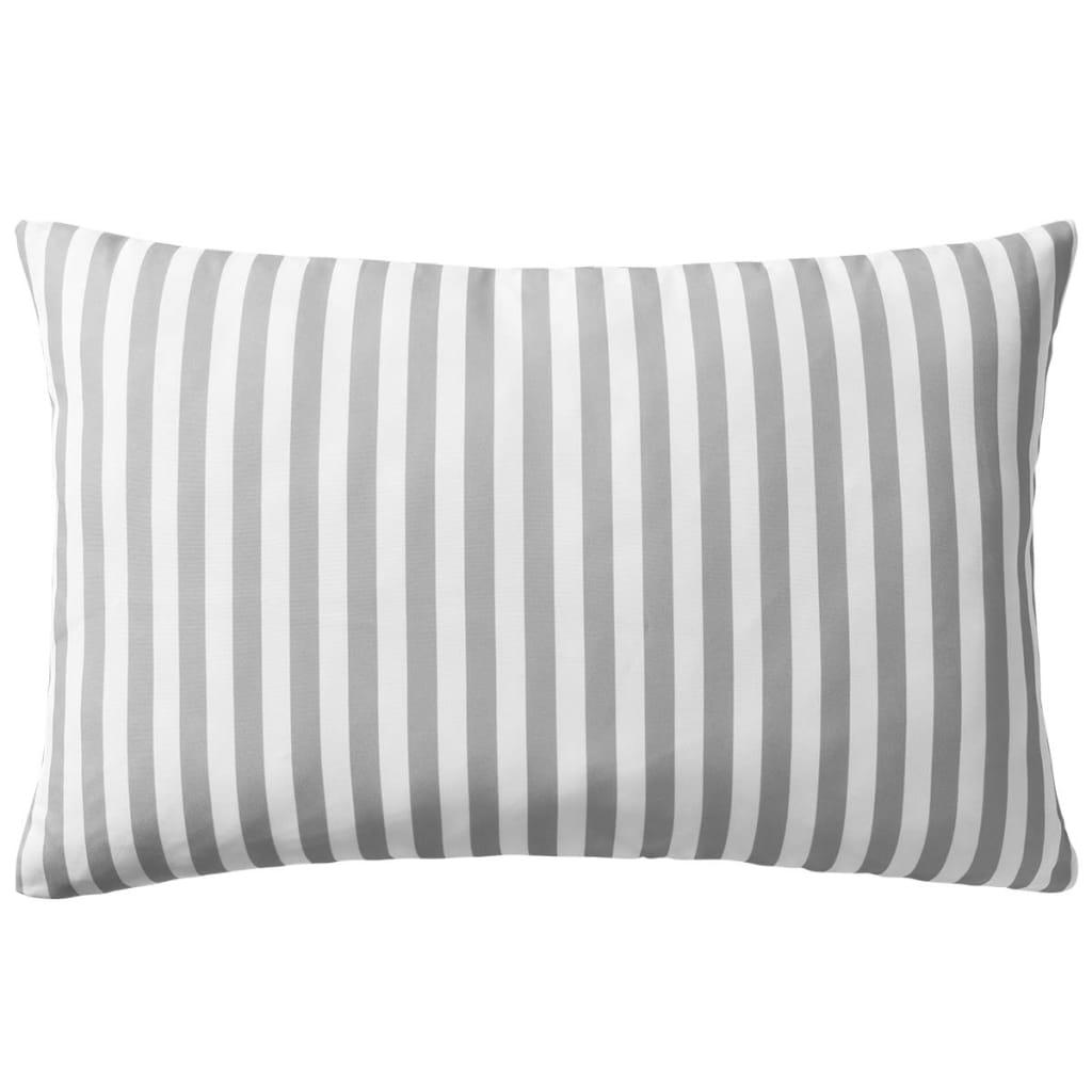 vidaXL Venkovní polštáře 2 ks pruhované 60x40 cm šedé