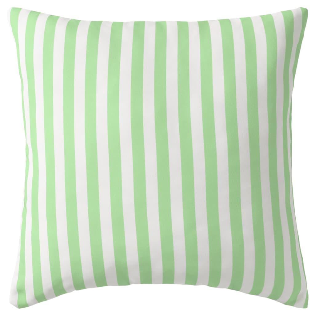 vidaXL Venkovní polštáře 2 ks pruhované 45x45 cm jablková zelená