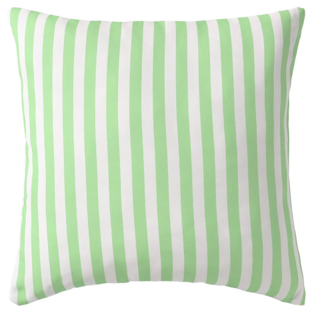 vidaXL Venkovní polštáře 4 ks pruhované 45x45 cm jablková zelená
