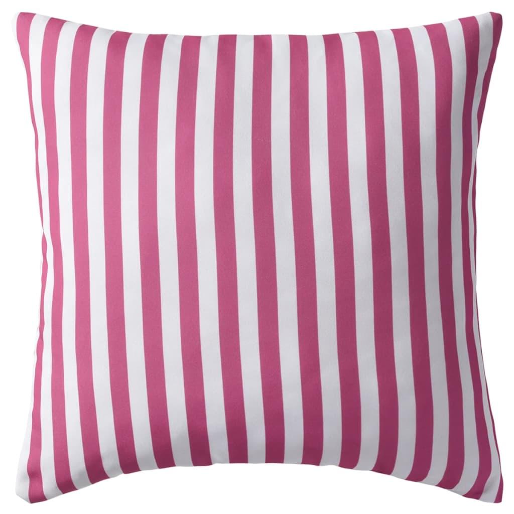 vidaXL Venkovní polštáře 2 ks pruhované 45x45 cm růžové