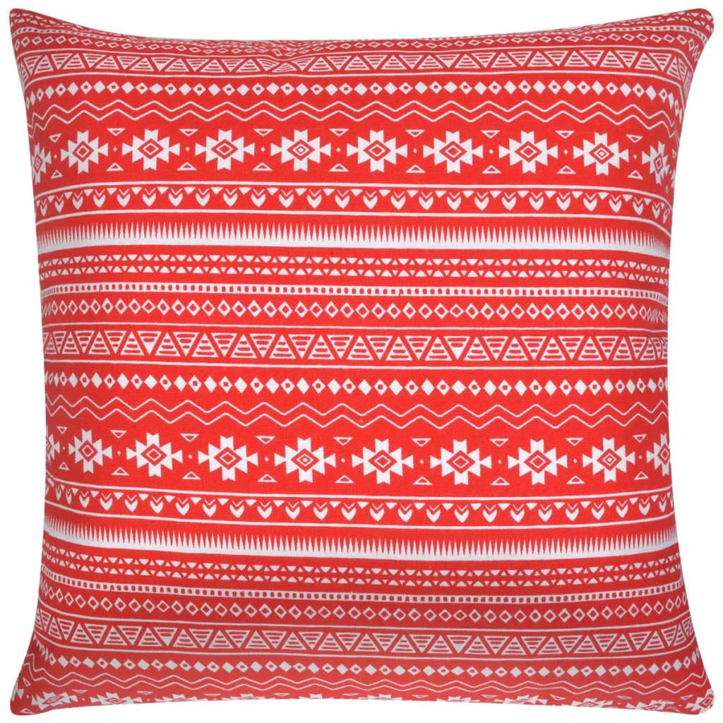 vidaXL Polštářky 2 ks, plátno, aztécký vzor, červený 45x45 cm