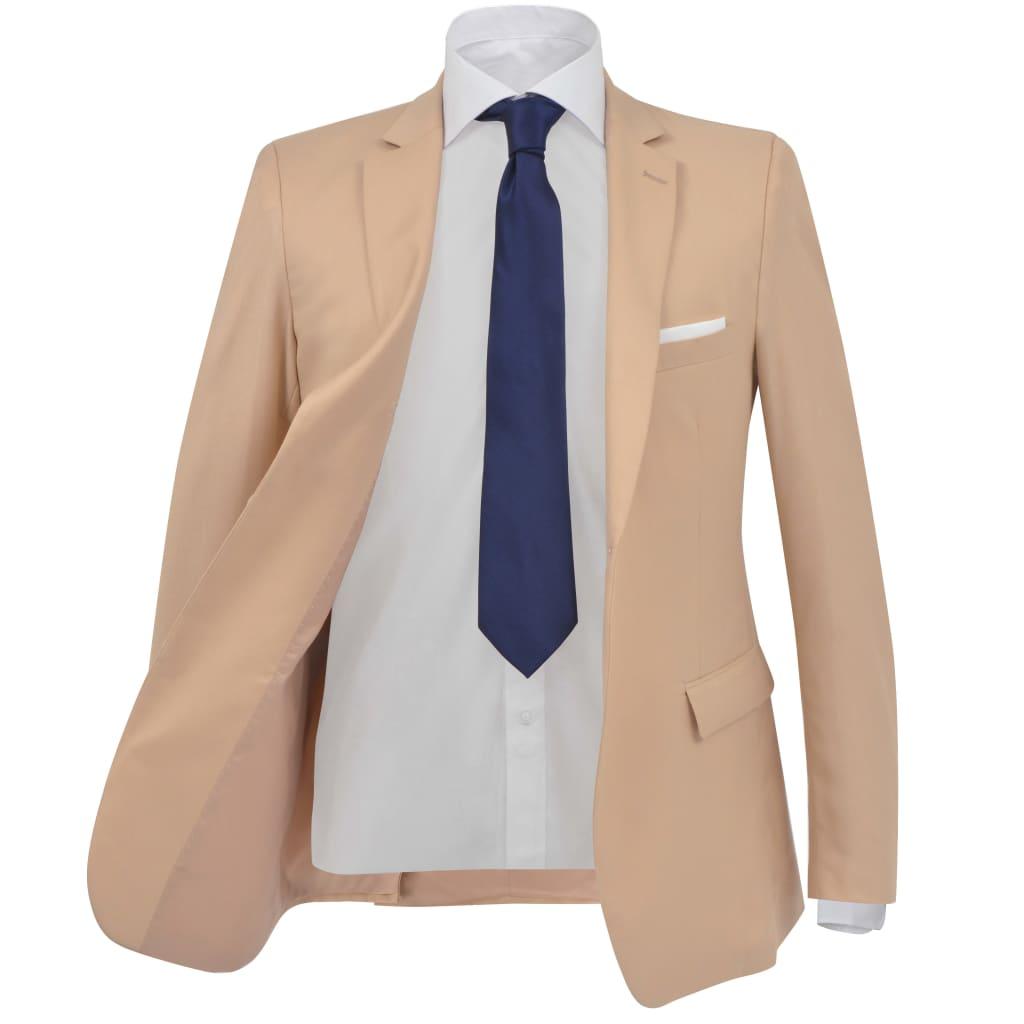 vidaXL Pánský dvoudílný business oblek, béžový, vel. 46