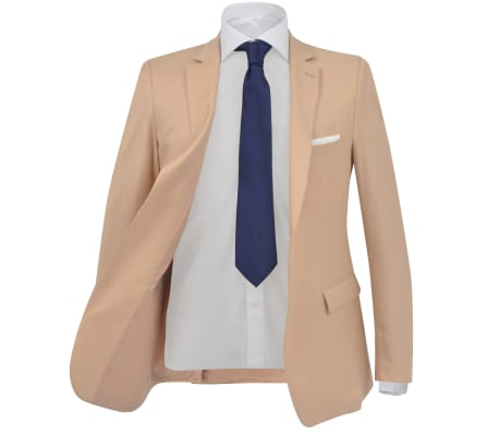 vidaXL Herren-Anzug 2-tlg. Größe 46 Beige[2/10]