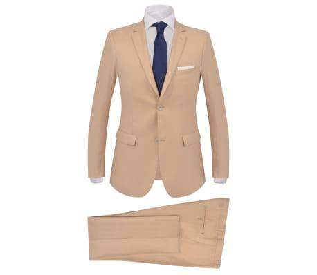 vidaXL Traje de chaqueta de hombre de 2 piezas talla 50 beige