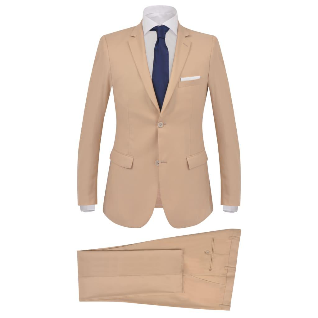vidaXL Pánský dvoudílný business oblek, béžový, vel. 54