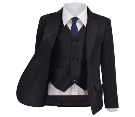 vidaXL Smoking à 3 pièces pour enfants Taille 92/98 Noir[2/12]