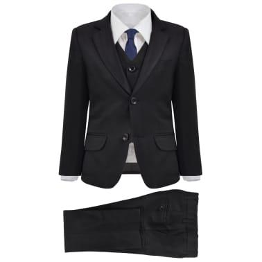 vidaXL jakkesæt til børn tre dele størrelse 104/110 sort[1/12]