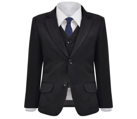 vidaXL jakkesæt til børn tre dele størrelse 104/110 sort[3/12]