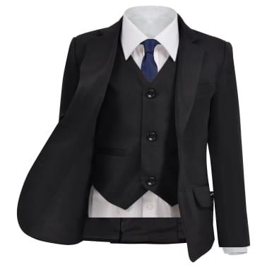 vidaXL jakkesæt til børn tre dele størrelse 104/110 sort[2/12]