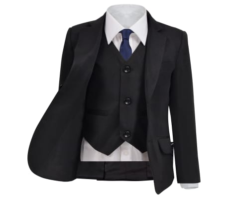vidaXL Smoking à 3 pièces pour enfants Taille 116/122 Noir[2/12]