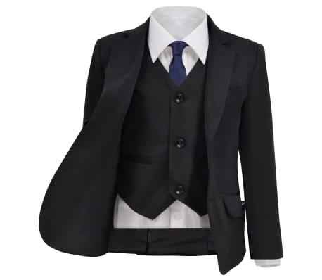 vidaXL Costum de ocazie pentru copii, 3 piese, mărime 140/146, negru[2/12]