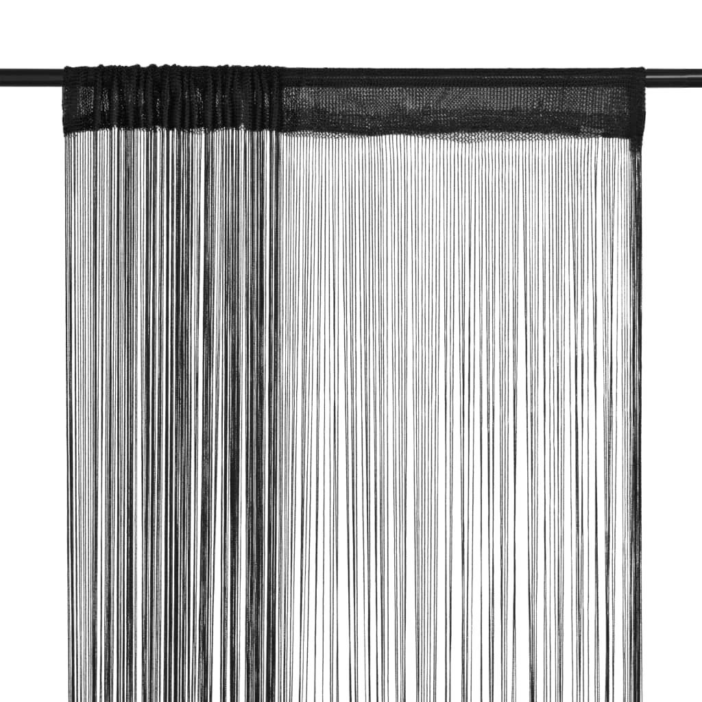 vidaXL Κουρτίνες με Κρόσσια 2 τεμ. Μαύρες 100 x 250 εκ.