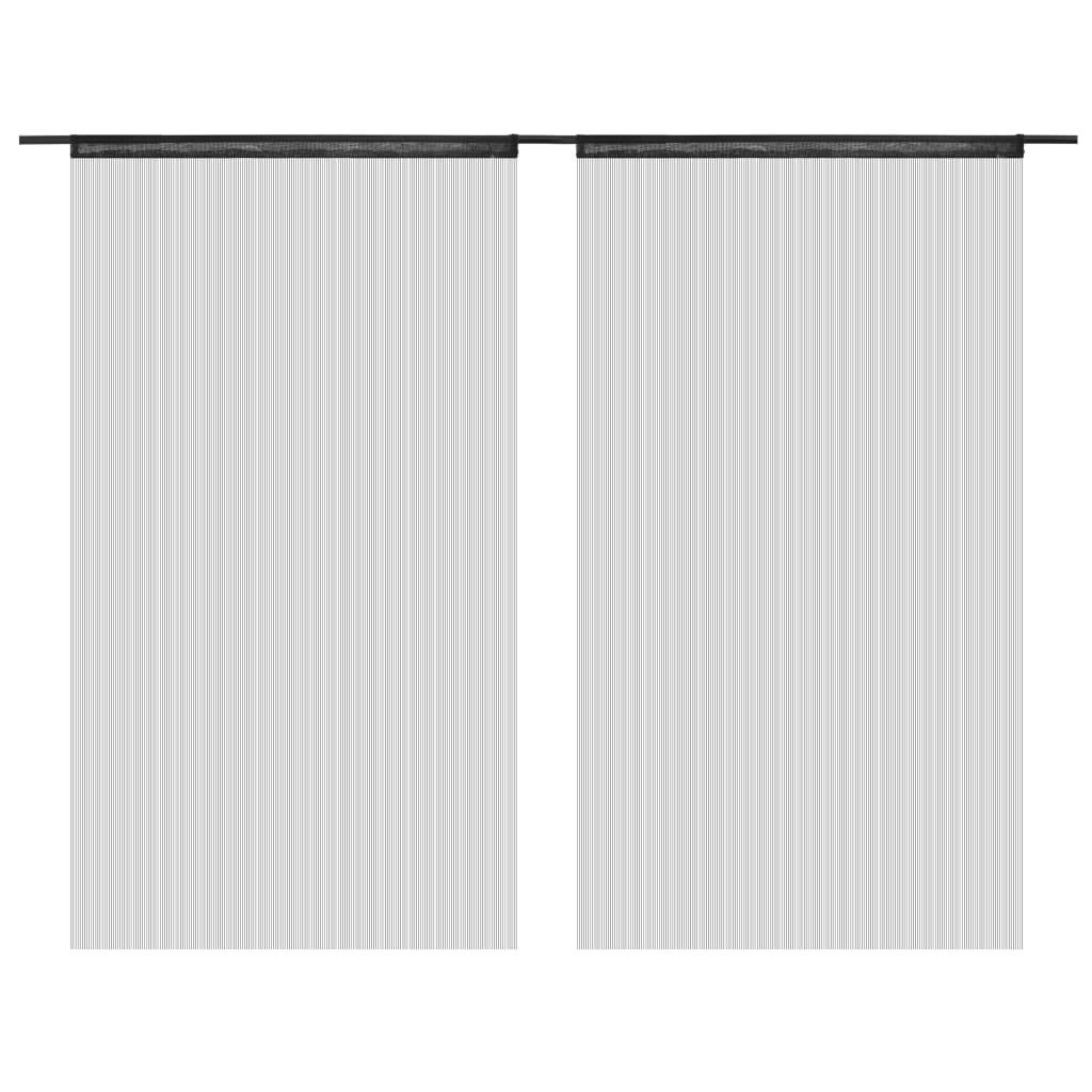 vidaXL Provázkové záclony, 2 ks, 100x250 cm, černá