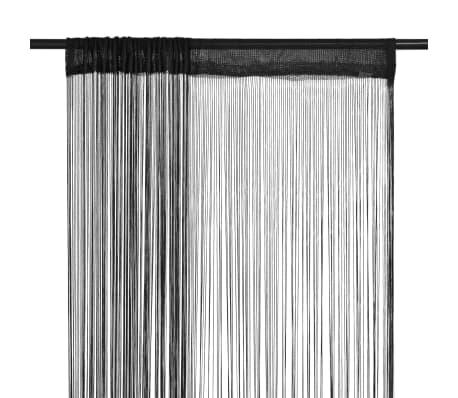 acheter vidaxl rideau en fils 2 pcs 140 x 250 cm noir pas cher. Black Bedroom Furniture Sets. Home Design Ideas