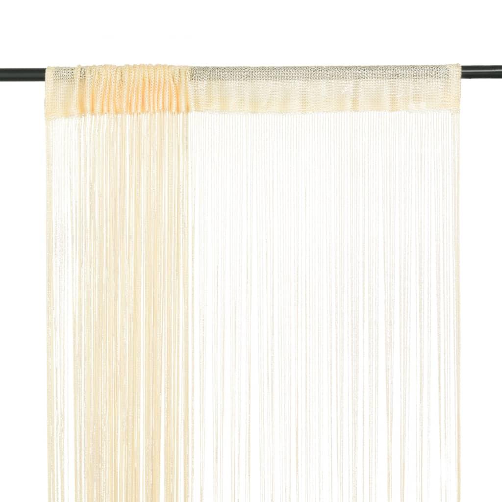 Provázkové záclony, 2 ks, 100x250 cm, krémová