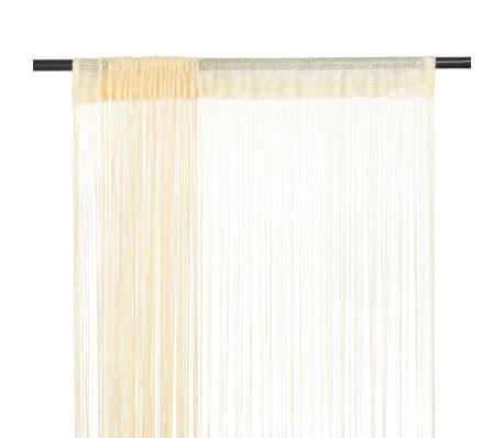 vidaXL Draperii cu franjuri, 2 buc., 140 x 250 cm, crem[1/4]