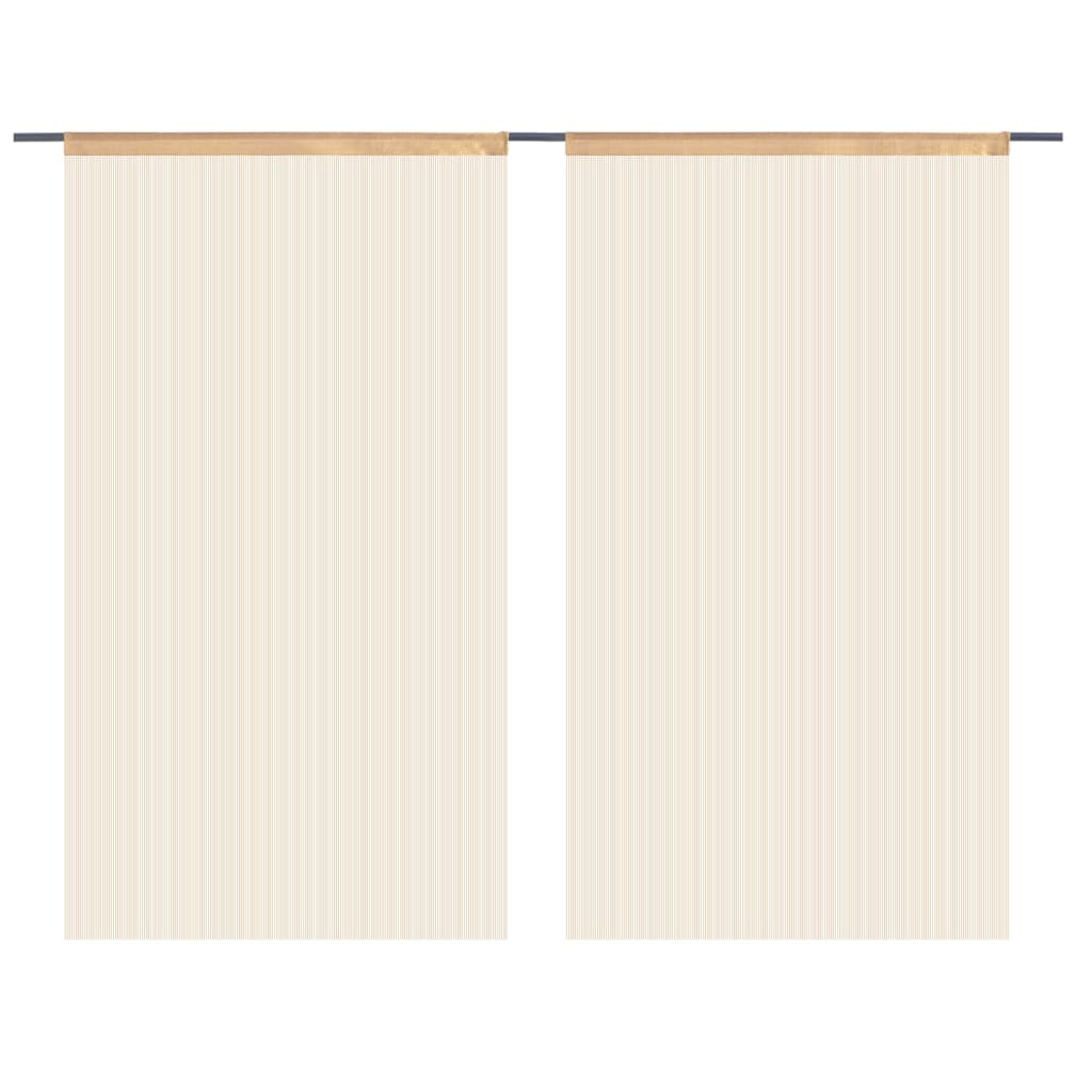 vidaXL Provázkové záclony, 2 ks, 100x250 cm, béžová