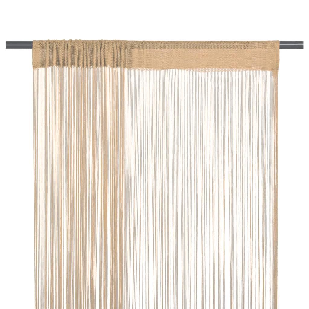 Provázkové záclony, 2 ks, 140x250 cm, béžová