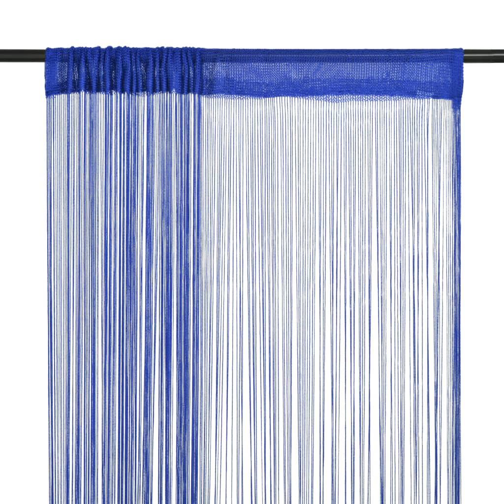 Provázkové záclony, 2 ks, 100x250 cm, modrá