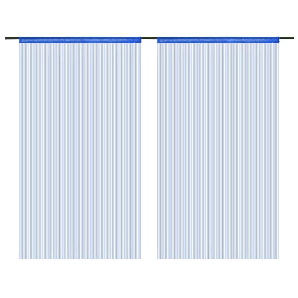 vidaXL Provázkové záclony, 2 ks, 100x250 cm, modrá