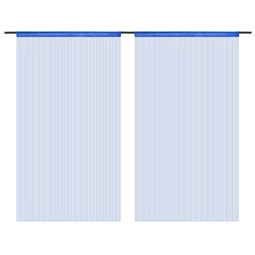 vidaXL Provázkové záclony, 2 ks, 140x250 cm, modrá