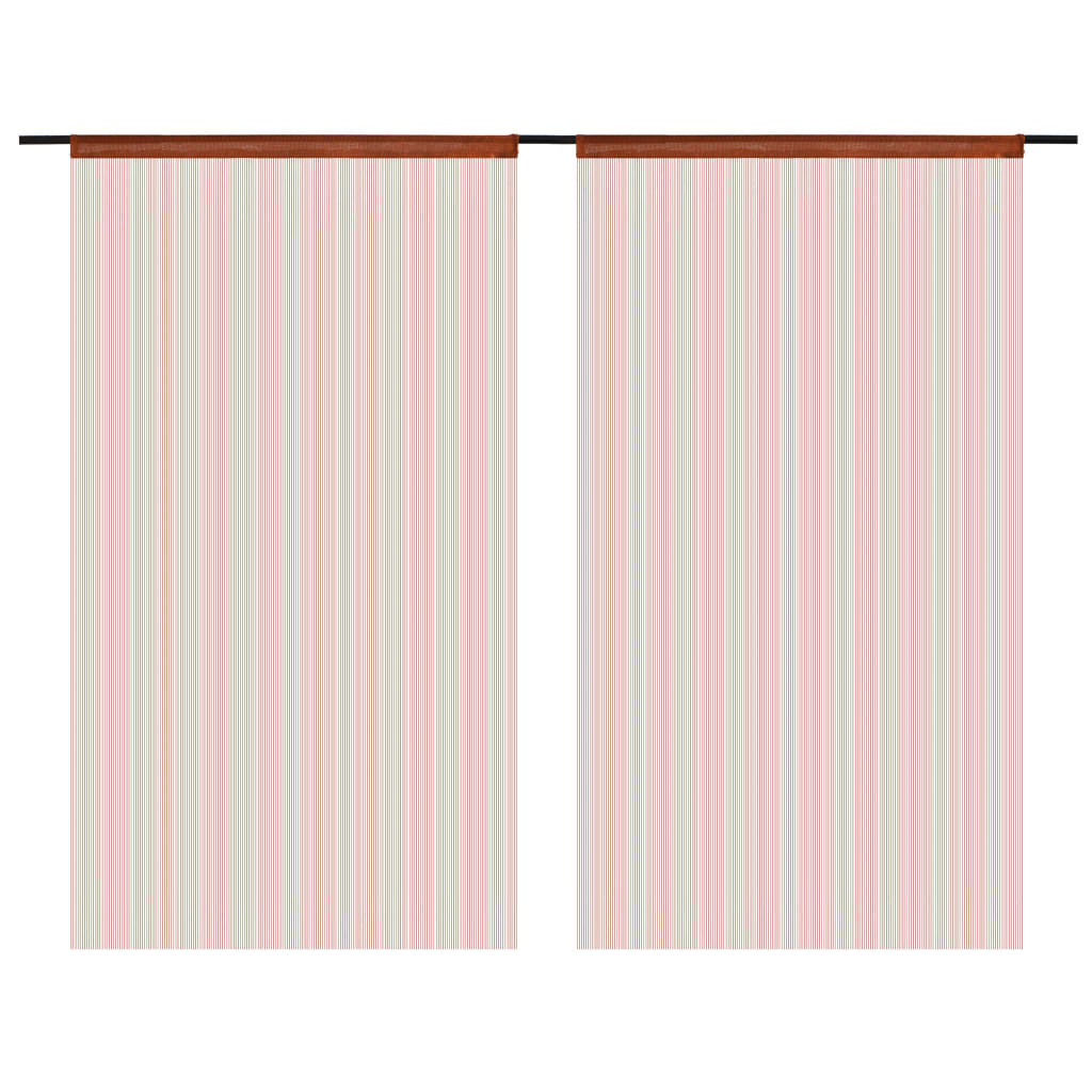 vidaXL Provázkové záclony, 2 ks, 100x250 cm, hnědá