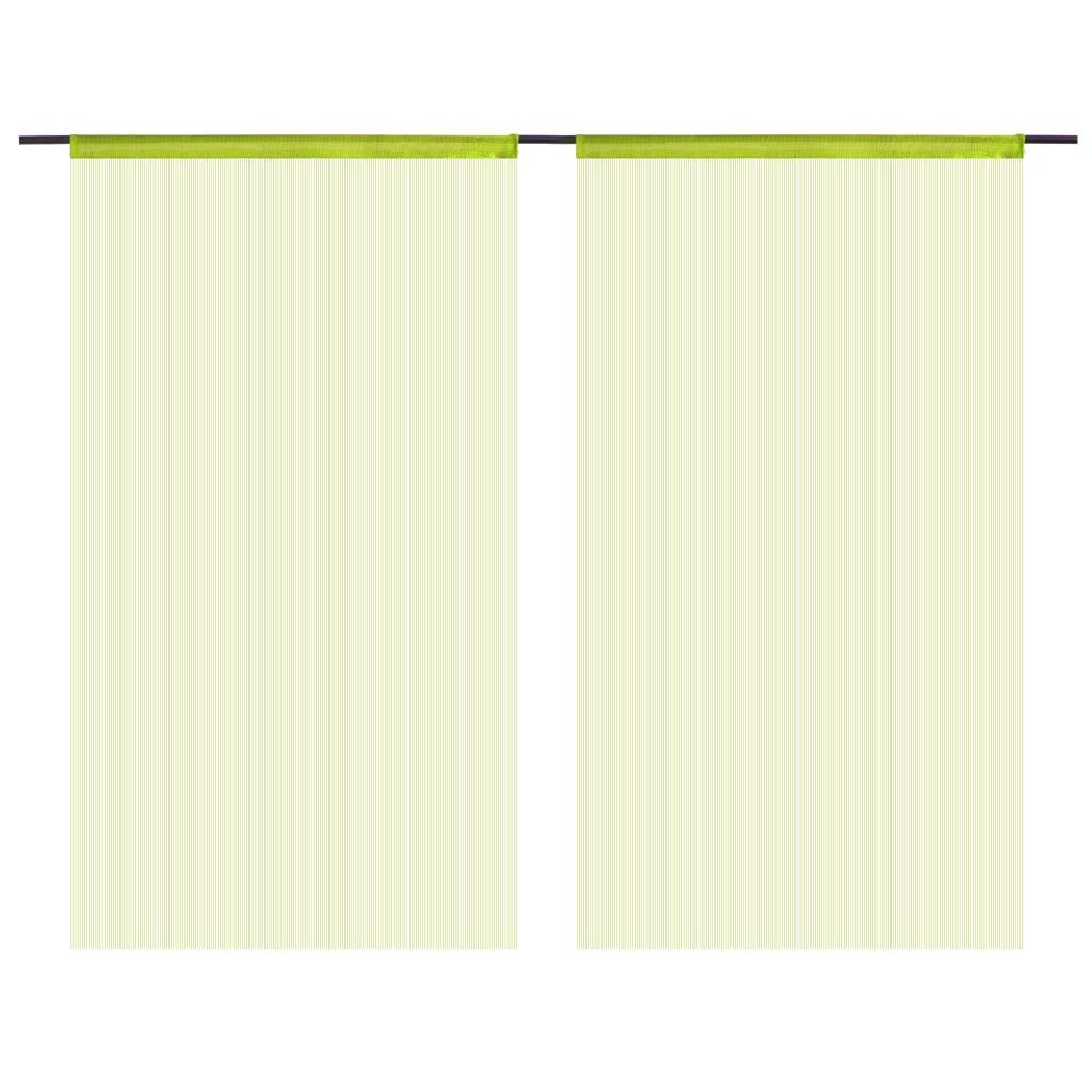 vidaXL Provázkové záclony 2 ks 100 x 250 cm zelené