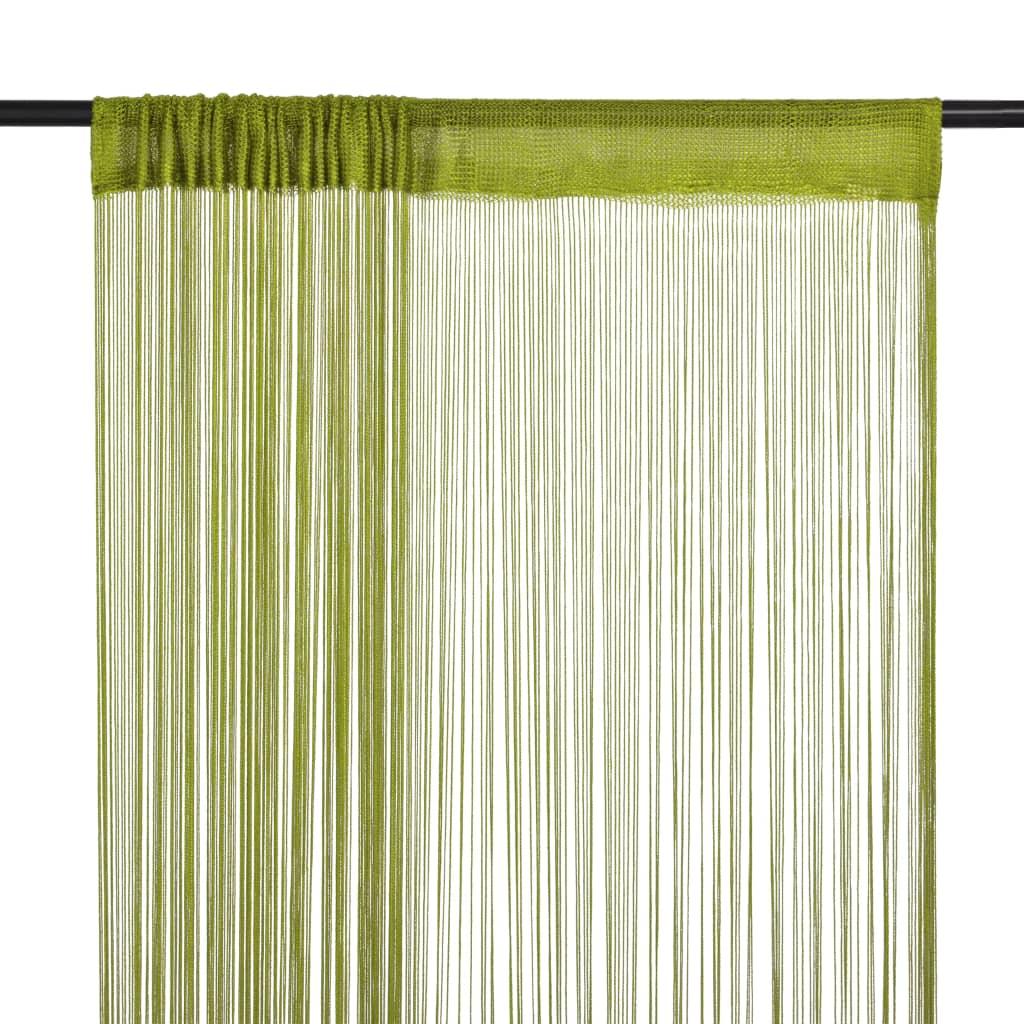 Provázkové záclony, 2 ks, 140x250 cm, zelená