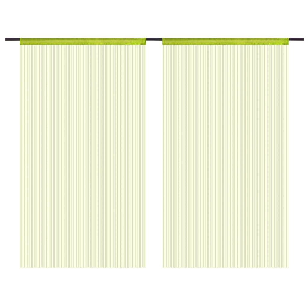 vidaXL Provázkové záclony, 2 ks, 140x250 cm, zelená