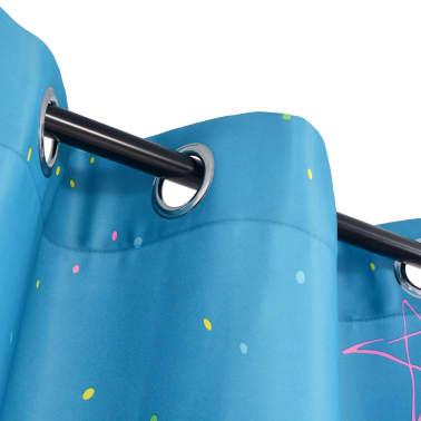 vidaXL Draperii opace camera copiilor, 2 buc, 140 x 240 cm, albastru[3/4]