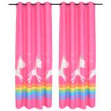 vidaXL Draperii opace pentru camera copiilor, 2 buc, 140x240 cm, roz