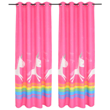 vidaXL Draperii opace pentru camera copiilor, 2 buc, 140x240 cm, roz[1/4]